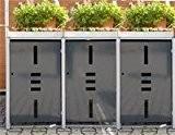 Mülltonnenbox Metall für 3 Mülltonnen mit Pflanzwanne anthrazit ...