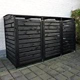 Mülltonnenbox VARIO III Müllbox Dreifachbox für 3 Mülltonnen Kiefer ANTHRAZIT