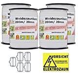 NEU: Sparpack - Weidezaunband mit 30% mehr Leitfähigkeit - insgesamt 800m + Elektro-Zaun-Band-Zubehör