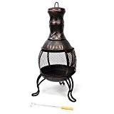 Nexos Terrassenofen Feuerstelle aus Stahl mit Gitterrost 90 cm