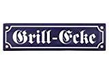 """Nostalgie Blechschild """"Grill-Ecke"""" Metallschild emailliert blau-weiss 30x8cm"""