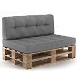Palettenkissen Palettensofa Palettenpolster Kissen Sofa Polster Outdoor Indoor Sitz+Rückenkissen Grau
