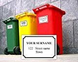 Personalisierter bedruckt Mülltonne Nummer Aufkleber mit Anzahl und Road Name-A6Vinyl Sammelbehälter Decals-Set von 4