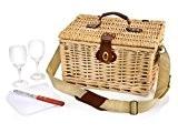 Picknickkorb aus Weidengeflecht für 2 Personen mit Tragegurt, 6 teiliges Set beeinhaltet Weingläser aus Glas, Praktische Transportsicherung Ihrer Wein / ...