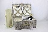 Picknickkorb für 4 Personen mit traditionellem aus natürlicher Weide Geschenkkorb mit Seitenriemen & Griff zum einfachen Tragen