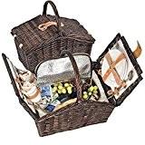 Picknickkorb Picknickkoffer Koffer Tasche Picknick gefüllt für 2 Personen mit Kühltasche (Kühlfach)- 337