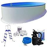Pool-Set KOMFORT Ø 3,50 x 1,20 m rund - 0,6mm Stahlmantel + 0,6mm Innenhülle (blau) mit Einhängebiese - inkl. Einstiegsleiter, ...