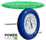 POWERHAUS24 - Ringthermometer mit V2A Messfühler und blauem Schwimmring - Befestigungskordel