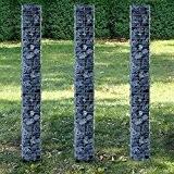 [pro.tec] Säulen - Gabionen 3er-Set (Grundriss viereckig - 25cm) (3x 200 cm hoch) Steingabionen / Spalier /