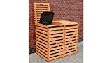 PROMADINO Mülltonnenbox, für 2x120 l aus Holz, B/T/H: 130/63/111 cm braun