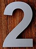 QT Moderne Hausnummer -Größe: 15 Zentimeter (Nummer 2 / Zwei) Gebürsteter Edelstahl