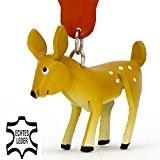 Reh Bambi - kleiner Reh Schlüssel-Anhänger aus Leder, eine tolle Geschenk-Idee für Frauen und Männer im Wildtier-Zubehör, Hirschkuh, Hirschkalb, Damhirsch, ...