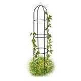 Relaxdays Obelisk Rankhilfe Rund H: 1,90 cm Rankgitter aus beschichtetem Stahl Rankbogen für Rosen und andere Blumen, grün