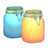 Relaxdays Solarleuchte im Einmachglas, Solar Glas mit 2 LED, Wasserdicht, Farbwechsel, Satiniertes Glas, 1 L, HBT: 16 x 10 x ...