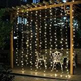 Salcar 3*3 Meter 300 LED Lichterkette Lichtervorhang für Weihnachten Deko Party Festen, Innen, 8 Lichtwechselprogramme (Warmweiß)