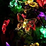 Salcar 5 Meter Solar LED Lichterkette 20 bunten Schmetterlinge Deko Beleuchtung für Weihnachten, Party, Festen, 2 Leuchtmodi (RGB)
