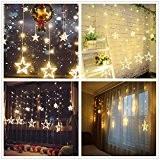 Salcar LED Lichterkette 2*1 Meter 12 Sterne Lichtervorhang für Weihnachten Deko Party Festen, 8 Lichtwechselprogramme (Warmweiß)