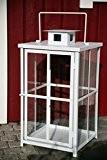 Schwere stabile Laterne, Weiß H: 60cm Windlicht Stalllaterne Metalllaterne