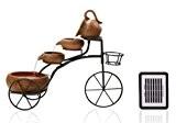 Solar-Kaskadenbrunnen mit Fahrradgestell und Blumenkorb