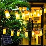 Solar Vintage Glas LED-Lichterketten Mit 30 Warmweißen LEDs Lampions Laterne Solarbetrieben Lichterkette Wasserfest Weihnachten Dekoration für Außen Garten, Terrasse, Hof, ...
