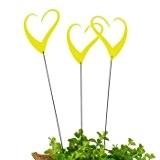 Sonnenfänger - Sun Dancer HEARTS gelb (3er Set) - lichtreflektierend - Breite: 7cm, Standhöhe: 33cm - inkl. Standstab