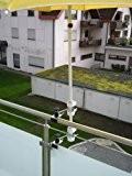 Sonnenschirmhalter für Stöcke 25,5 mm bis 50 mm Ø - 2 Stück - Schirmbefestigung senkrecht oder waagerecht anbringbarer 360 ° ...