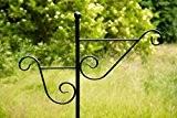 Stabiler Doppel - Laternenstab in Schwarz H: 180cm Laternenhaken zum Stecken Blumenampel