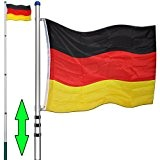 Teleskop Fahnenmast 6,30m Deutschlandfahne Aluminium Mast Flagge Bodenhülse Flaggenmast