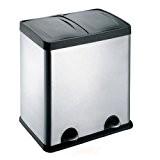 Treteimer Abfalleimer Mülleimer Mülltrennung Edelstahl (48 Liter 2x24L)
