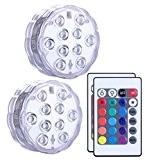 Unterwasser Licht mit Fernbedienung 2 Stücke, Alilimall RGB Multi Farbwechsel Wasserdichte LED Leuchten für Vase Base, Floral, Aquarium, Teich, Hochzeit, ...