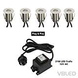 VBLED® Boden-Einbaustrahler 0.6W Mini LED, Warm-weiß, IP67, Rund aus Edelstahl inkl. Netzteil (21W), hochwertige Terrassen-Einbauspots (5er-Set)