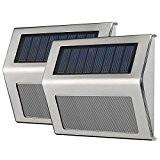 VicTsing 2 Stk LED Solarleuchte Garten Edelstahl 19 lum Solar Wandleuchte Solarlampe mit Auto On/Off, Wetterfest für Garten Außen Terrasse ...