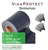ViewProtect Premium Sichtschutz, 35m x 19 cm Breite, blickdichte Zaunfolie (anthrazit mit 20 Klemmstreifen)