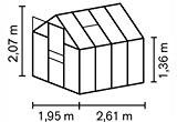 Vitavia Gewächshaus Apollo 5000 HKP 6 mm Alu Außenmaß (BxT): 195 x 261 cm Wand: 6 mm Stegdoppelplatten Gesamthöhe: 207 ...
