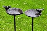 Vogeltränke, Vogelbad auf Gartenstab, aus Gusseisen, 2-fach sortiert, 1 Stück, 20 cm x 14 cm x 98 cm