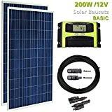 WATTSTUNDE® 200W Solaranlage Solar Bausatz PV Set für Garten Wohnmobil 200 Watt Solarmodul und Laderegler