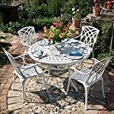 Weißes Alice 120cm Rundes Aluminium Gartenmöbelset - 1 Weißer ALICE Tisch + 4 Weiße APRIL Stühle