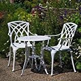 Weißes Ivy Bistroset - 1 Weißer Ivy Tisch + 2 Weiße APRIL Stühle