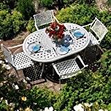 Weißes June 150 x 95cm Gartenmöbelset Aluminum - 1 Weißer JUNE Tisch + 6 Weiße APRIL Stühle