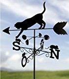 WENKO Wetterfahne Katze 53 x 43 x 170 cm