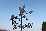 Wetterfahne - ADLER aus Stahl mit Erdspieß und Wandhalterung.