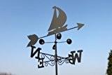 Wetterfahne - BOOT aus Stahl mit Erdspieß und Wandhalterung.
