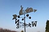Wetterfahne - HASEN aus Stahl mit Erdspieß und Wandhalterung.