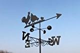 Wetterfahne - HÜHNER aus Stahl mit Erdspieß und Wandhalterung.