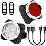 Wiederaufladbare LED Fahrradlampe,Yica LED Frontlicht und Rücklicht für Radfahren, 350lm ,4 Licht-Modi ,Frontlicht und Rücklicht Fahrradlampe Set
