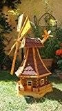 Windmühle 130 cm, wetterfest,robust mit Bitumen, MIT WINDFAHNE Windrad-Seitenruder, Windmühlen Garten, imprägniert + kugelgelagert 1,30 m groß rot dunkelrot edelrot ...
