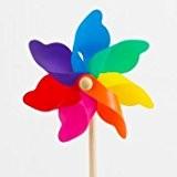 Windspiel - Moulin 17 - UV-beständig und wetterfest - Windrad: Ø17cm, Standhöhe: 47cm - fertig aufgebaut inkl. Standstab (Rainbow)