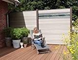 WPC / BPC Sichtschutzzaun bi color-weiß 8 Zäune inkl. 9 Pfosten in dark grey und Verglasung Sichtschutz Gartenzaun Zaun terrasso