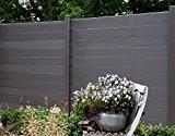 WPC / BPC Sichtschutzzaun dark grey 6 Zäune inkl. 7 Pfosten Sichtschutz Gartenzaun Zaun