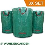 Wundergarden© - Große XL-Gartenabfallsäcke im 3er Set aus robustem PP-Gewebe für bis zu 270 liter Gartenabfälle, Laub, Grünschnitt, Pflanzenabfälle, Kompost ...